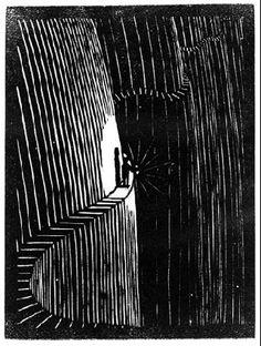 Flor de Pascua - Never think before you act, 1921 by M.C. Escher. Expressionism. genre painting