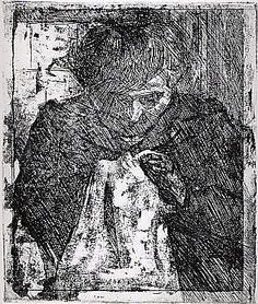 The Artist's Mother Sewing Umberto Boccioni
