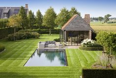 Home landscaping, Garden pool, Garden room, Backya Backyard Pool Designs, Swimming Pool Designs, Swimming Pools, Pool Pool, Pool Backyard, Outdoor Pool, Landscape Design, Garden Design, Home Landscaping