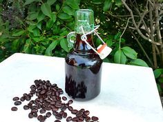 """DIY coffee liqueur from Serious Eats - Eat Your Books is an indexing website that helps you find & organize your recipes. Click the """"View Complete Recipe"""" link for the original recipe. Homemade Liqueur Recipes, Kahlua Recipes, Homemade Kahlua, Homemade Liquor, Vodka, Serious Eats, Limoncello, Coffee Liqueur Recipe, How To Make Coffee"""