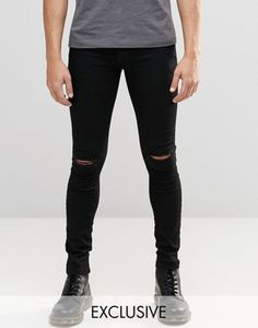 Buy Brooklyn Supply Co black hunter spray on denim jeans with knee slit at ASOS. With free delivery and return options (Ts&Cs apply), online shopping has never been so easy. Get the latest trends with ASOS now. Mens Distressed Skinny Jeans, Mens Destroyed Jeans, Super Skinny Ripped Jeans, Superenge Jeans, Brooklyn, Asos, Acid Wash Jeans, Streetwear Brands, Jeans Style