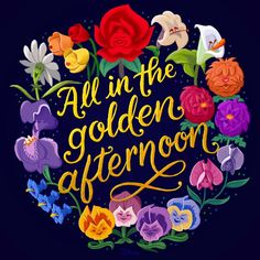 Dizzy daffodils, strings of violets, and lazy daisies all on this golden Earth Day! Alice in Wonderland, April 2017 Arte Disney, Disney Magic, Disney Art, Disney Movies, Alice In Wonderland Flowers, Chesire Cat, Wonderland Tattoo, Tsumtsum, Adventures In Wonderland