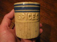 Antique Yelloware Spice Jar RARE Miniature Stoneware Crock w Blue Marked H | eBay  sold   330.00.      ...~♥~