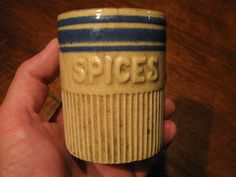 Antique Yelloware Spice Jar RARE Miniature Stoneware Crock w Blue Marked H | eBay  sold   330.00.      ...~♥~