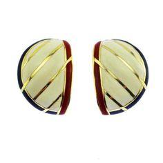 Orena Paris Color Block Enamel Earrings