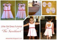 eelassirak: Sweetheart Dress Tutorial. Little girl toddler dress heart cut-out A-Line dress. Sweetheart neckline and bows on the shoulders