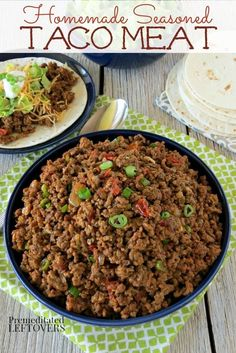 Homemade Seasoned Taco Meat- Making this seasoned taco meat recipe ensures you k. - Homemade Seasoned Taco Meat- Making this seasoned taco meat recipe ensures you know exactly what' - Taco Meat Seasoning, Meat Recipes, Cooking Recipes, Seasoning Recipe, Beef Taco Recipe, Ground Beef Seasoning, Homemade Taco Seasoning, Burrito Meat Recipe, Kitchen