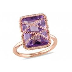 Ice on Wondermall - 7 2/10 CT Amethyst 14K Pink Gold Plated Silver Ring
