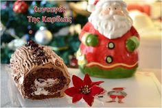ΣΥΝΤΑΓΕΣ ΤΗΣ ΚΑΡΔΙΑΣ: Χριστουγεννιάτικος κορμός με βύσσινα Greek Christmas, All Things Christmas, Christmas Time, Christmas Recipes, Group Meals, Greek Recipes, Nutella, Gingerbread, Good Food