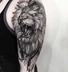 #tattoo #tatuagem #ink #inked #bodymodification #alineymarques #lion #blackandwhite #pointillism