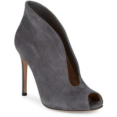 Gianvito Rossi Suede Cut-Out Pumps ($380) ❤ liked on Polyvore featuring shoes, pumps, cutout pumps, dark grey pumps, high heel stilettos, suede peep toe pumps and stiletto pumps