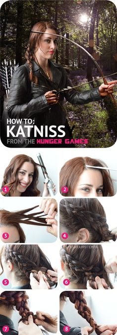Katniss Braid Tutorial For The Hunger Games: Catching Fire.because I'm a bit obsessed. I wish I could get my hair to do this. Katniss Braid, Katniss Everdeen, Hair Dos, My Hair, Hunger Games Costume, Katniss Costume, Halloween Hair, Easy Halloween, Pretty Hairstyles