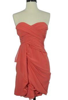 $43.00 chiffon drape dress in coral