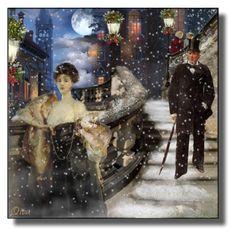 A snowy night in Venice. Venice, Polyvore, Interior Decorating, Night, Artwork, Painting, Girlfriends, Art Work, Work Of Art
