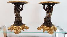 pair bronze surtout de table TAZZA Sculpture sign CC 19th cent. Mod.Clodion TOP