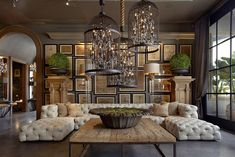 Restoration Hardware style living room with soho tufted u-sectional sofa. Restoration Hardware style living room with soho tufted u-sectional sofa. Living Room Decor Country, French Country Living Room, Country Decor, Modern Country, Restoration Hardware Living Room, Furniture Restoration, Restoration Hardware Lighting, Restauration Hardware, Contemporary Decor