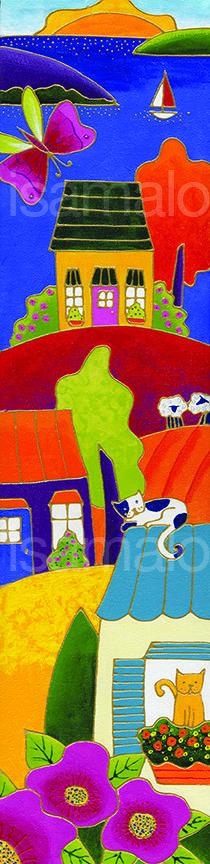 Ambiance d'été par Isabelle Malo • Acrylique sur toile • Folk art  • www.isamalo.com • Artiste peintre du Québec •Art naïf