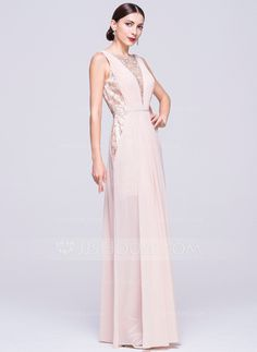 2f83f982a03 A-Line Princess Scoop Neck Floor-Length Chiffon Lace Prom Dress With Ruffle