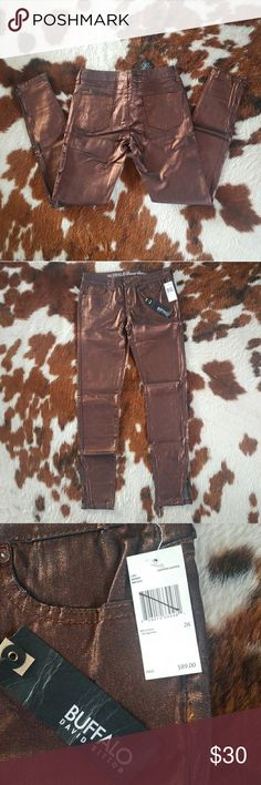 NWT Buffalo Metalic Copper Skinny Jeans 26 Brand new with tags. Buffalo by David Bitton Skinny Jeans. Size 26. Metalic copper colored. Zippers on both ankles. Buffalo Jeans Skinny