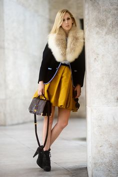 fall fur. love the voluminous mustard skirt and booties