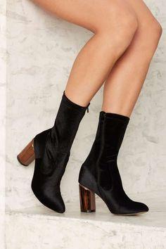7ff046015ffa Public Desire Elva Velvet Bootie Black Velvet Boots
