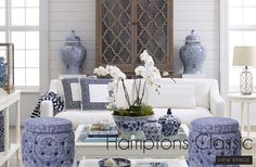 Blue and white with ginger jars.