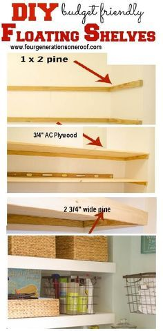 DIY floating shelves inside our small laundry closet. I love the idea of a folding table and shelves for storage