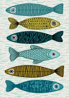 Six Fish, limited edition giclee print Six Fish is a variation on my popular Five Fish print, with a slightly different composition and a lighter, fresher palette. Im a huge fan of the fish-related im Fish Print, Fish Design, Art Plastique, Printmaking, Fisher, Giclee Print, Art Print, Folk Art, Art Projects