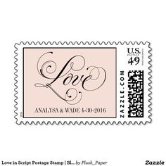 Love in Script Postage Stamp   Blush Pink Color