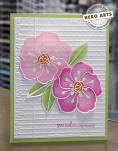 simply beautiful floral card using the Small Sweet Petals stamp, love the light, airy feel and the way the background texture shows through the softly colored blooms.