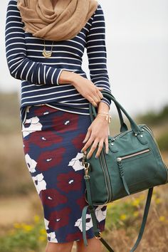 Moody blooms are popping up everywhere this season in fall's brooding color palette, giving florals a different, darker twist. Keep your outfit limited to one floral piece & pair it with a neutral or a subtle pattern in a similar palette. Sign up for Stitch Fix to update your fall wardrobe with on-trend pieces for the season.
