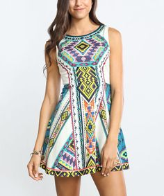 Another great find on #zulily! Ivory & Blue Geometric Fit & Flare Dress #zulilyfinds