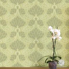 Our Lotus Paradise Floral Wall Stencil is an allover flower stencil that's perfect for spring time projects! This new floral stencil design brings the Art Nouve