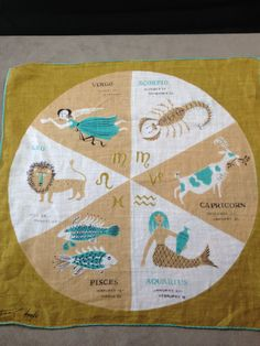 Tammis Keefe vintage linen zodiac by TwinSistersTreasures on Etsy