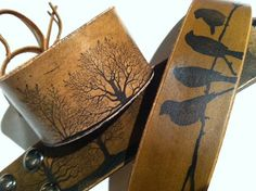 Birds on a perch rustic Leather Wristband bracelet by dgierat, $24.00