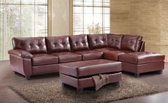 This G900 Reversible Sectional Set by Glory Furniture is sure to please your family and guests. The set features brown PU upholstery, comfortable tufted seating, pillow top arms and removable backs.