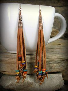 Bohemian Earrings Leather Beaded Earrings by StoneWearDesigns #handmadejewelry