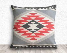 Pillow Cover, Aztec Pillow Cover, Tribal Pillow Cover, Linen Pillow Cover 18x18 - Printed Tribal - 194