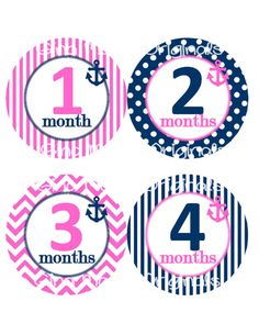Baby Monthly Milestone Growth Stickers Nautical Navy Bright Pink Anchor Nursery Theme Baby Shower Gift Baby Photo Prop