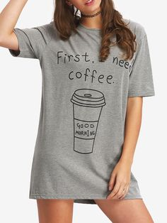 Shop Coffee Print Mini T-shirt Dress online. SheIn offers Coffee Print Mini T-shirt Dress & more to fit your fashionable needs.
