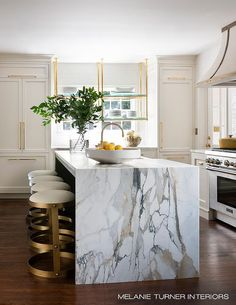 Kitchen Living Rooms marble slab waterfall island kitchen - I'm so in love with this beautiful home designed by Melanie Turner! The marble slab waterfall kitchen island is absolutely. Home Decor Kitchen, Kitchen Interior, Home Kitchens, Kitchen Ideas, Marble Interior, Decorating Kitchen, Kitchen Designs, Living Room And Kitchen Design, Coastal Interior