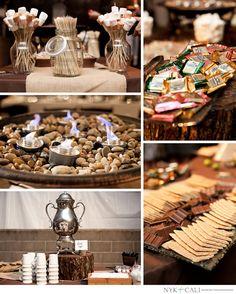 Wedding | Reception | Firefly Events Nashville | Savor the Flavor Catering |  S'more bar | Creative | Elegant display