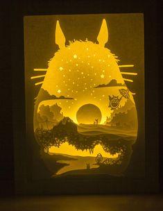 Anime themed Papercut light box, Totoro papercut light box shadow box, shadow box with laser Paper Art, Paper Crafts, Miyazaki, My Neighbor Totoro, Diy House Projects, Cool Diy, Pretty Cool, Shadow Box, Paper Cutting