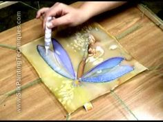 Arati Devasher hand painting a silk scarf - 'Snails Pace' (speedpainting) - YouTube