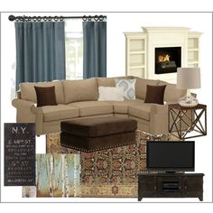 Family Room - comfy blues & browns. Perfect for the formal living room.