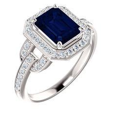 Gorgeous Custom 950 Platinum, 10K, 14K Or 18K White, Rose Or Yellow Gold Natural 1.50 Crarat Emerald Cut Blue Saphire & Diamond Ring by VincentsFineJewelry on Etsy