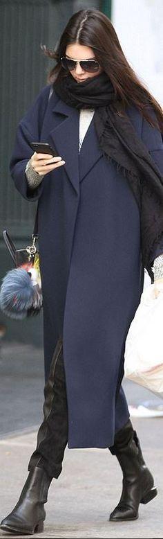 Kendall Jenner:  Scarf – Love Quotes  Pants – Proenza Schouler  Coat – Derek Lam  Key Chain = Fendi  Shoes – Alexander Wang  Purse – Celine