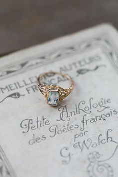 http://rubies.work/0360-sapphire-ring/ Antique Aquamarine Ring Art Deco Jewelry Art by AmuletteJewelry