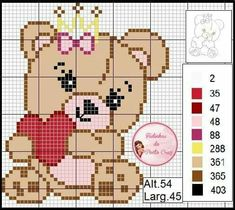 Loom Patterns, Crochet Patterns, Pixel Crochet Blanket, Cross Love, Cross Stitch Bookmarks, Plastic Canvas Patterns, Loom Beading, Pixel Art, Teddy Bear