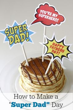 Super Dad Food Toppers free printable from CatchmyParty perfect fathers day gift, fathers day gift certificate, fathers dad gifts Diy Father's Day Gifts Easy, Great Father's Day Gifts, Father's Day Diy, Fathers Day Crafts, Happy Fathers Day, Fathers Day Ideas, Diy Fathers Day Food Gifts, Daddy Gifts, Gifts For Dad